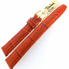 DARLENA 14mm ANTIQUE CROC GRAIN TAN LEATHER WATCH STRAP GOLD OR SILVER BUCKLE