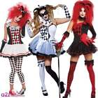 LADIES ADULT WOMENS JESTER HARLEQUIN CLOWN HALLOWEEN CIRCUS FANCY DRESS COSTUME