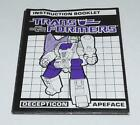 Apeface Action Figure Robot Instruction Manual 1987 Hasbro G1 Transformers - Time Remaining: 7 days 18 hours 57 minutes 26 seconds