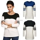Womens lady 3/4 Sleeve Loose T Shirt Patchwork Tops Blouse Stretch Pullover N98B