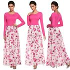 Sexy Women Splicing Floral O-neck Long Sleeve Slim Casual Long Dress Hot N98B