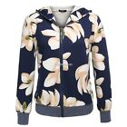 Women Casual Long Sleeve Hooded Floral Print Coat Outerwear N98B