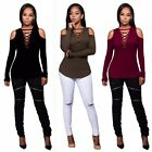 Autumn Winter Women Long Sleeve T shirt bandage off shoulder lady tops blouse