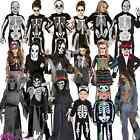KIDS GIRLS BOYS SKELETON HALLOWEEN CRYPT KEEPER GRIM REAPER FANCY DRESS COSTUME