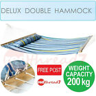 Hammock Double Swinging Outdoor Bed Cotton Pillow Camping Wood Portable Frame