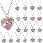 Crystal Love Heart Pendant Chain Necklace Fashion Family Xmas Gifts Jewelry