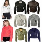 New Womens Classic Quilted Motorbike Jacket Cropped Zip Up Motorcycle Biker Coat