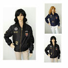 Womens Ladies Classic Army Style Patch Bomber Jacket Zip Up Biker Vintage Jacket