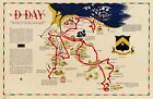 Map D-day Normandy France 743rd Tank Battalion Vintage History Wall Poster