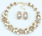 1Pc Stylish Women Girls White /Coffee Alloy Artifical Pearl Statment Necklace