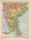 1934 MAP ~ SOUTHERN INDIA & CEYLO ~ ADRASBOBAY HYDERABAD