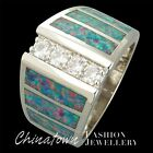 4x Moissanite Gray Blue Black Opal Silver Wide Band Ring Size 6 7 8 9 10 11 12