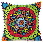 """16"""" Black Embroidered Decorative Couch Pillow Cushion Throw Cover Bohemian India"""