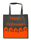 PUMPKIN HAPPY HALLOWEEN TRICK OR TREAT BLACK COTTON  TOTE  BAGS CANVAS STRAP