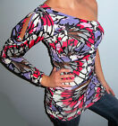 New Womens Colorful  PRINT Dress ONE SHOULDER Top TUNIC Choose S M L