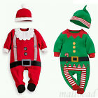 2pcs Baby Clothes Outfits Boy Girl Kids Romper Hat Cap Set Christmas 0-24M Gifts