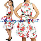 50 Dress  Cocktail  Floral  Evening  Red  Party  Gown  Vintage  Ladies  Dress
