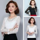 Women Casual Hollow Lace Tops Slim Long Sleeve Floral Blouse Base Shirts Sweet