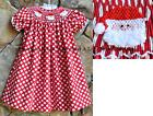 Smocked A Lot Girls Christmas Santa Red Polka Dot Bishop Dress Fluffy Beards!