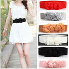 Women Girl Vintage Flower Elastic Stretch Waist Belt Buckle Wide Stretch Belt