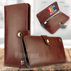 Men Women Leather Wallet Clutch Purse Cards Holder Sleeves for iPhone Samsung