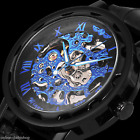 Men's Skeleton Mechanical Wrist Watch Steampunk Luxury Black Leather Stainless <br/> USA Seller✔Free Shipping✔Hand Winding