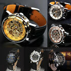 Men's Skeleton Mechanical Wrist Watch Steampunk Luxury Black Leather Stainless image