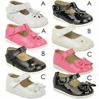 Kids Babies Girls Flat Velcro Shoes Christening Party Flower Bow Sandals Size