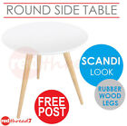 Table Round Side Lamp Coffee Bedside Scandi Home Office Wood Mat White Home New
