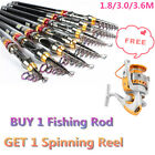 Carbon Fiber Telescope Saltwater Sea Fishing Rod Spinning Pole + Spinning Reel