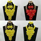 Wholesale Yellow African Jewelry Set Silver Bead Accessories Wedding Necklace