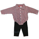 Baby Boys Woven Bodysuit Shirt & Bottoms Outfit (0-3 Months)