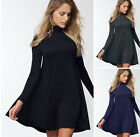 S-L Casual Solid Colors Turtleneck Swing Dress Long Sleeve Tunic Mini Boho Dress