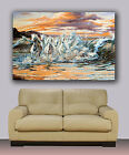 "White Horses Painting Ocean Canvas Print Wall Art Huge 40""x30"" Running On Beach"