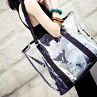 2 in 1 Fashion Women's Transparent champagne Jelly  Bag Tote Shoulder Clear Bag