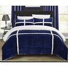 Chic Home 3 Piece Chloe Mink Sherpa Lined King/Queen Comforter Set,Navy