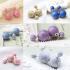 Charm Fashion Women Double Sides Two Cracked Ball Stud Earrings Piercing