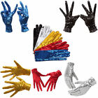 Halloween Sparkle Sequins Wrist Gloves for Party Dance Event Kids Unisex Costume