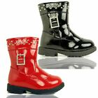 GIRLS CHILDRENS PATENT DIAMANTE BUCKLE WARM COMFORT TODDLER INFANT BOOTS SIZE