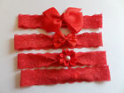 Baby Girls Bow Red Stretch Lace Headband Hairband Hair Accessories  4 sizes