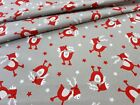 LOVELY, GREY ON WHITE CHRISTMAS FABRIC 100%COTTON 160cm wide