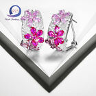 8.0CT Ruby&Sapphire Solid 925 Silver Flower Earrings Engagement Ear Stud Jewlery