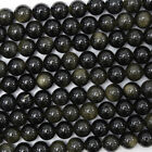 "Black Gold Obsidian Round Beads Gemstone 15.5"" Strand 4mm 6mm 8mm 10mm 12mm"