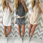 Women Lady Long Sleeve Loose Casual Tops Blouse Sweater T Shirt Short Mini Dress