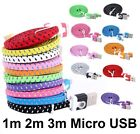 Strong Braided Flat USB Data Charging Cable for Samsung Galaxy S3 S4 S5 Mini