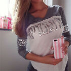 Cute Womens Lady Pink Loose Long Sleeve Casual Blouse Shirt Tops Sexy Blouse hot