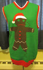 Mens Ugly Christmas Sweater Crumbling Gingerbread Man Vest Size S M XL