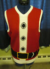 Mens Ugly Christmas Sweater Santa Vest Size S M L