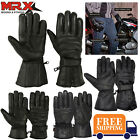 Mens Genuine Leather Motorcycle Gloves Motorbike Riding Glove Thermal Linning