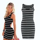 Womens Sexy Stripe Bodycon Cocktail Party Evening Pencil Dress Backless Dresses